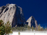 A Full Moon Lights Up the Yosemite Valley in Winter