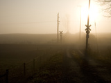 A Railroad Crossing Cloaked in Morning Fog
