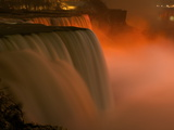 Niagara's American Falls Lit at Night in Winter