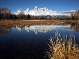 Mountains Reflected in the Snake River in Grand Teton National Park