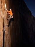 Waiting Until Night for Cooler Temperatures  a Rock Climber Ascends El Capitan