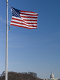 United States Flag Flying at the Washington Monument Capitol Beyond