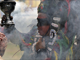 A Conchero Aztec Dancer Elebrates Toxcatl  Dedicated to the Sun