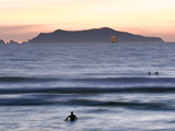 Surfers at Dusk in Front of Anacapa Island at Silver Strand Beach