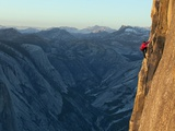 A Climber  Without a Rope  Takes on the Third Zigzag of Half Dome