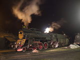 Polish State Railways Steam Locomotive Parked for the Night