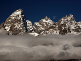 The Peak of Grand Teton Mountain Above the Clouds