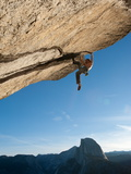 Without a Rope  a Climber Scales a Route on Glacier Point Called Heaven