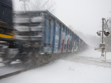 A Freight Train Rolls Through Heavy Snowfall of 'Blizzard of 2010'