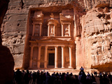 Tourists at the Treasury  Al Khazneh  in Petra