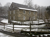 Falling Snow Coats Historic Old Pierce Mill