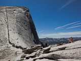Tourists Wait in Line Enroute to the Cable Route on Half Dome