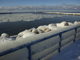 Iced over Pier at Lake Michigan