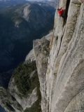 A Climber  Without a Rope  Clings with Fingertips to Half Dome