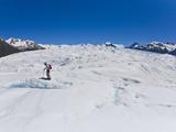 A Hiker Explores New Areas in the Middle of Perito Moreno Glacier