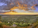 Panoramic Shot of Boulder at Sunset