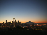 Seattle Skyline with the Space Needle and Mount Rainier at Dusk