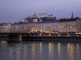 View of Salzburg Along the River at Dusk