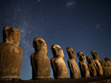 Night View of Maoi Statues under a Star Filled Sky