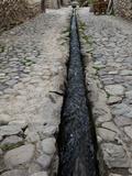 An Ancient Inca Stone Street with a Water Sluice Running Through It
