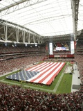 49ers Cardinals Football: Glendale  AZ - American Flag lines the Field at University of Phoenix Sta