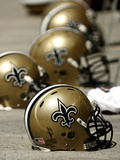 Saints Raiders Football: Oakland  CA - New Orleans Saints Helmets