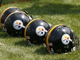 Steelers Camp Football: Latrobe  PA - Steelers Helmets