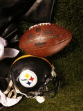 Bills Steelers Football: Pittsburgh  PA - A Pittsburgh Steelers Helmet and Football