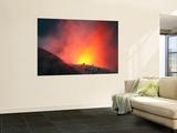 Nighttime Eruption of Santiaguito Dome Complex  Santa Maria Volcano  Guatemala