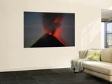 Nighttime Lava Eruption of Fuego Volcano  Antigua  Guatemala