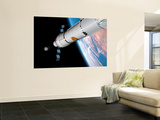 A Command Module Approaches an Awaiting Rocket in Earth Orbit