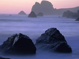 USA  California  Redwood National Park  Rocky shore with surf  dusk