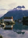 Village on the island of Flakstad  Norway