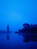 Landscape around a lake in the dawn