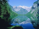 Lake 'Obersee' and ' Watzmann' mountain  Bavaria  Berchtesgarden  Germany
