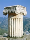Ionian column an the Holly Street in Delphi  Greece