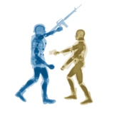 Human figures with firearms