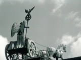 Quadriga of the Brandenburg Gate against clouded sky  Berlin  Germany