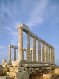 Poseidon Temple  in the evening light in  Sounion National Park  Attica  Greece