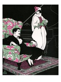 Illustration of Fashionable Woman Leaving Her Husband Sitting in an Armchair by Junius Cravens