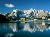 View of town  Lake Misurina  Alps  Italy