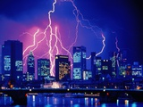Lightning over the skyline of Frankfurt/Main