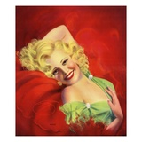 Pinup Calendar Illustration of a Blond Woman in a Green Dress by Billy De Vorss