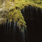 Water Falling Off Mossy Cliff