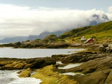 Norway/Lofoten: rocky coast and mountain Himmeltinden