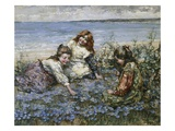 Young Girls in a Field of Cornflowers
