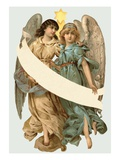 Illustration of Two Angels Holding a Banner
