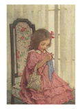 Illustration of a Little Girl Knitting by Jessie Willcox Smith