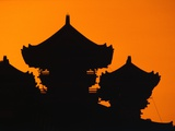 Silhouette of Japanese Temple