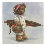 Illustration of a Teddy Bear with a Picnic Basket by Alexandra Day